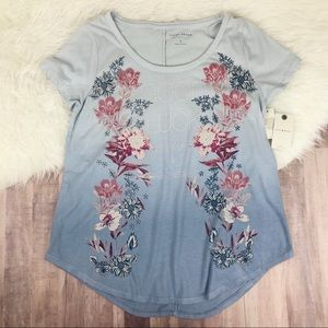 LUCKY BRAND Floral Blue Ombré Graphic Tee NWT New